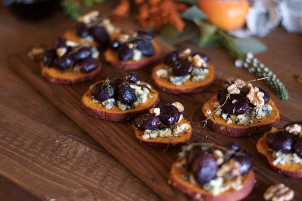 Sweet Potato Rounds with Maple-Roasted Grapes + Stilton