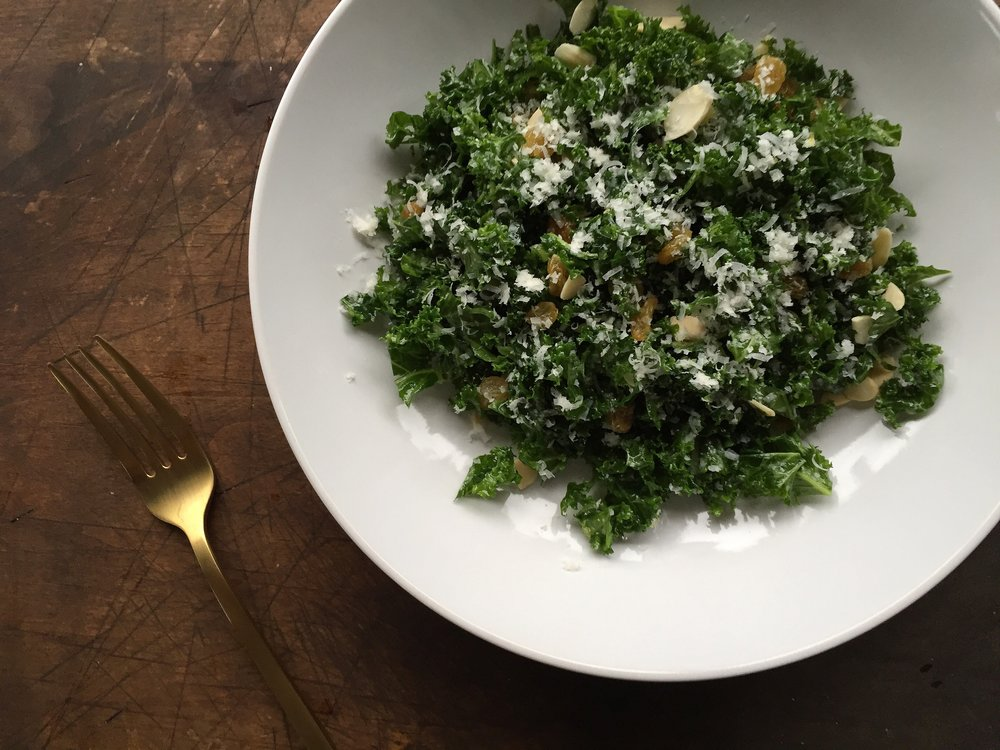 Kale Salad with Pecorino Romano + Golden Raisins