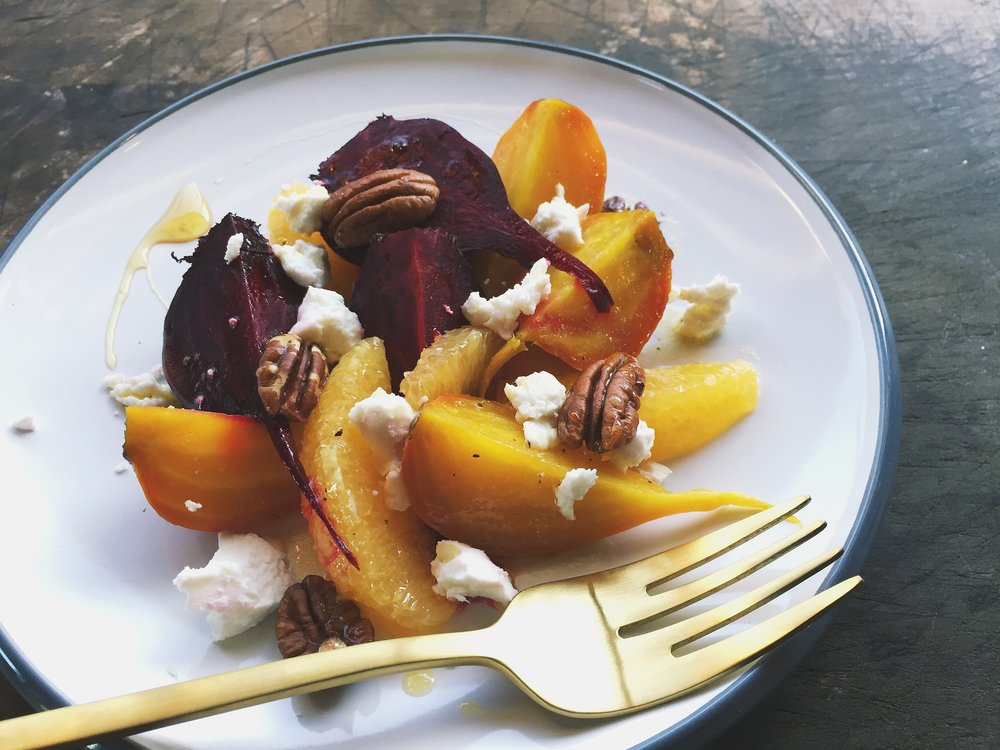 Roasted Beet + Orange Salad with Goat Cheese
