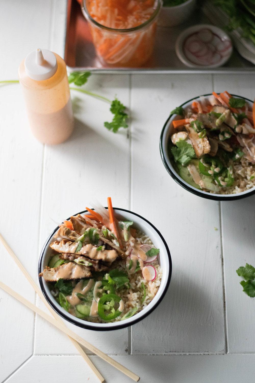 Banh Mi-ish Bowls + Ginger Sriracha Mayo | All Purpose Flour Child