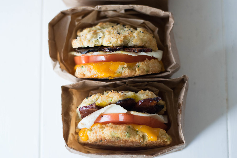 Brunchy Biscuit Sandwiches with Espresso-Glazed Bacon