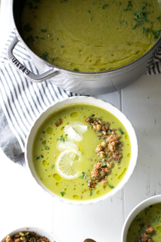 Creamy Artichoke + Asparagus Soup with Ezekiel Bread + Lemon Crumble | All Purpose Flour Child