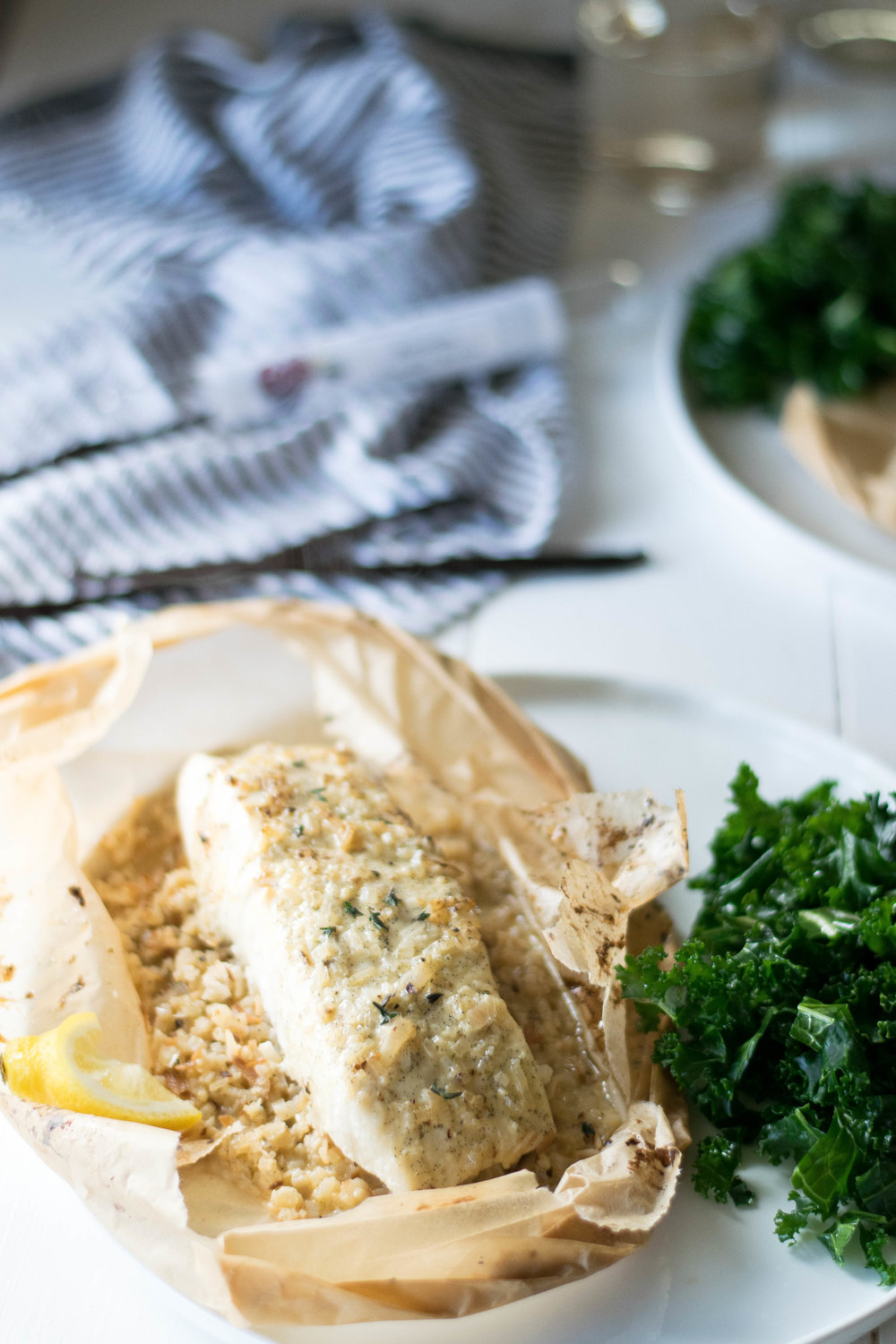 Halibut En Papillote with Vanilla Sauce and Coconut Cauliflower Rice // Sponsored By Cook Flavoring Company | All Purpose Flour Child