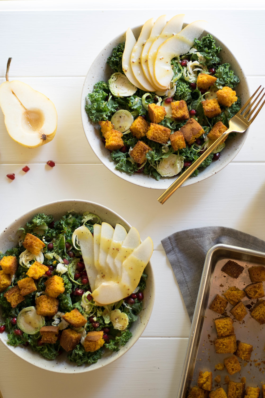 Harvest Kale Salad with Pear + Pumpkin Cornbread Croutons | All Purpose Flour Child