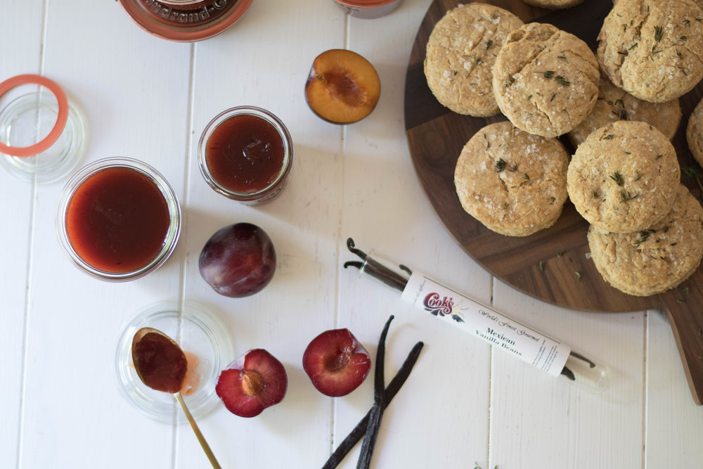 Vanilla Plum Butter with Thyme + Spelt Biscuits // Sponsored By Cook Flavoring Company