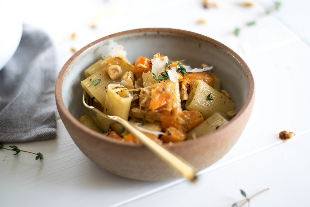 Butternut Squash + Caramelized Onion Rigatoni with Apple Cider Cream Sauce + Hazelnuts | All Purpose Flour Child