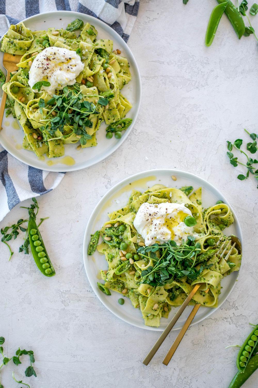 Fresh Pea Pesto with Papardelle + Burrata | All Purpose Flour Child