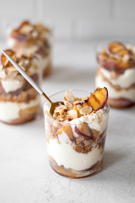 Grilled Peach Parfaits with Amaretti Cookie Crumbles + Mascarpone Cream | All Purpose Flour Child