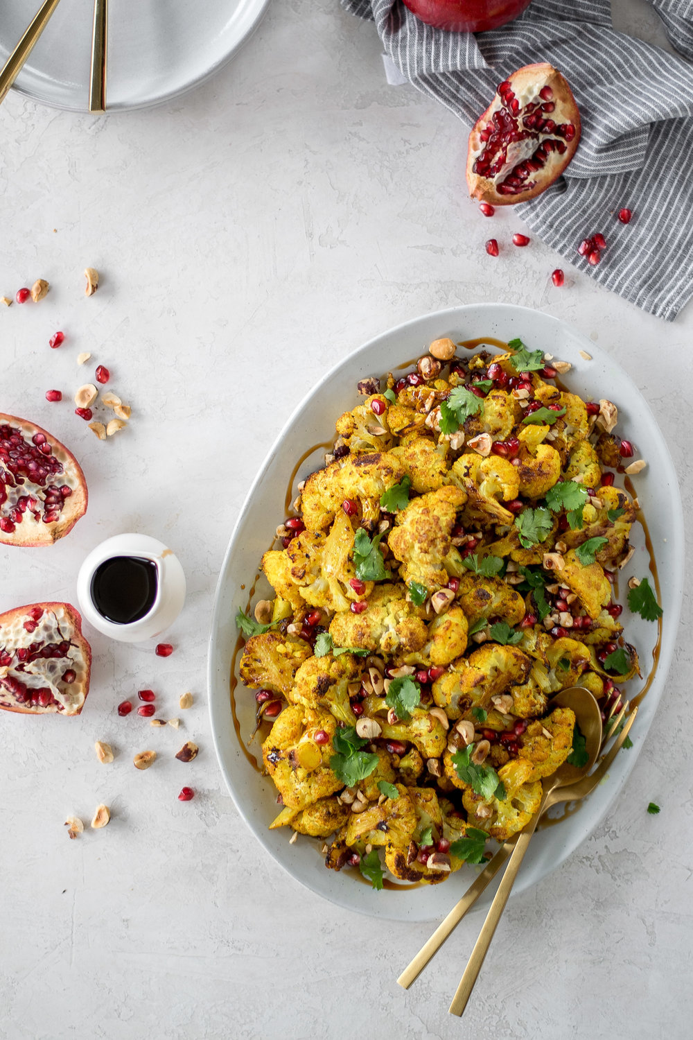 Golden Roasted Cauliflower with Pomegranate + Hazelnuts | All Purpose Flour Child