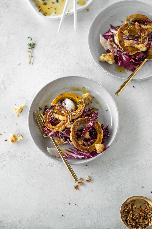 Roasted Delicata Squash + Radicchio Salad with Warm Maple Chili Vinaigrette | All Purpose Flour Child