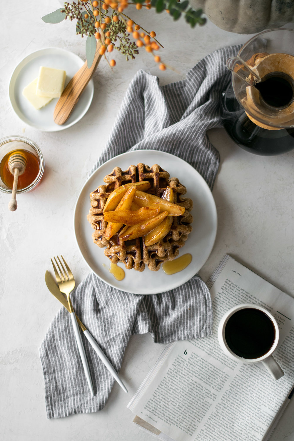 Honey Graham Waffles + Caramelized Pears | All Purpose Flour Child
