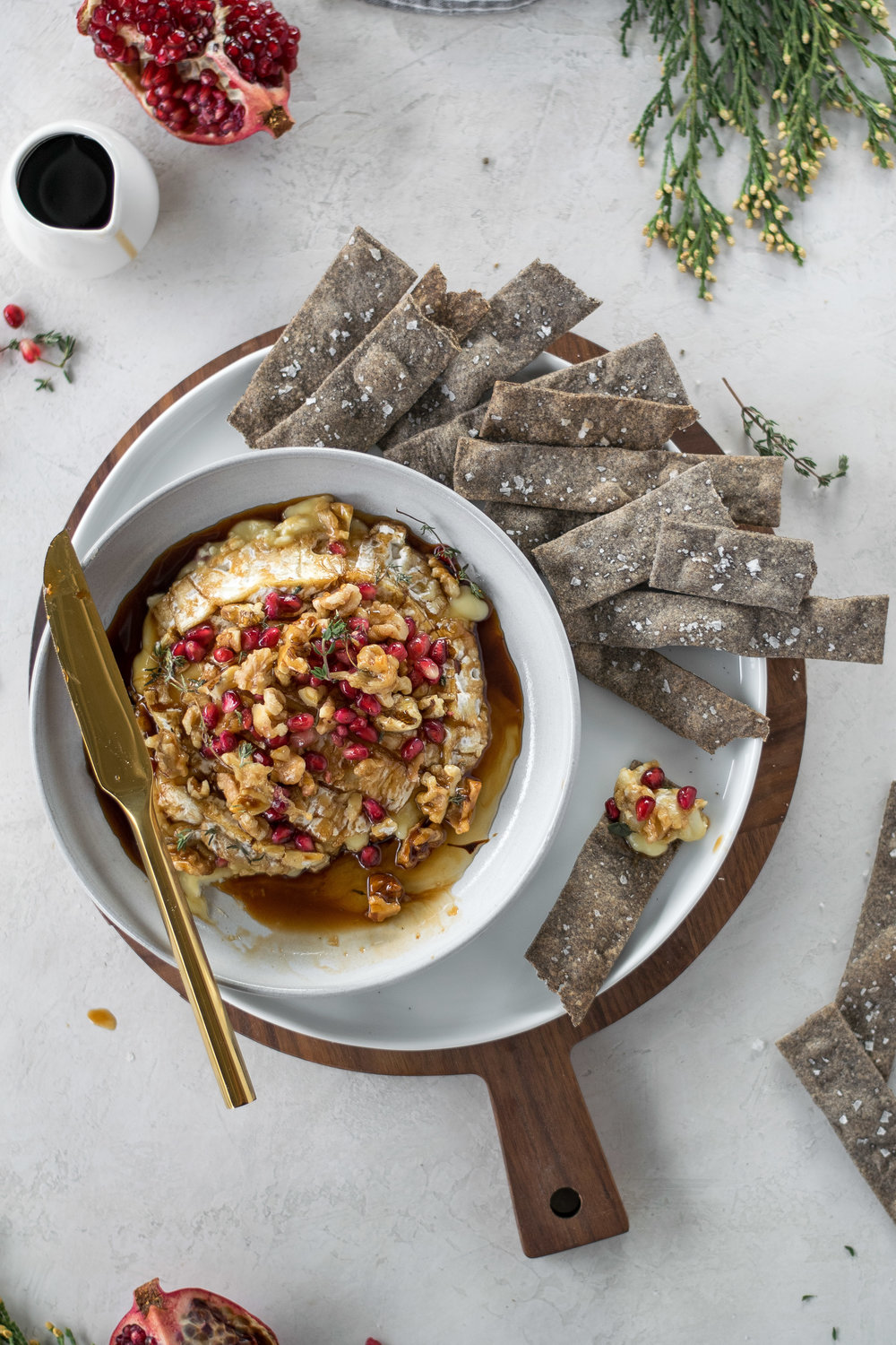 Easy Baked Camembert with Pomegranates, Walnuts, + Buckwheat Crackers | All Purpose Flour Child