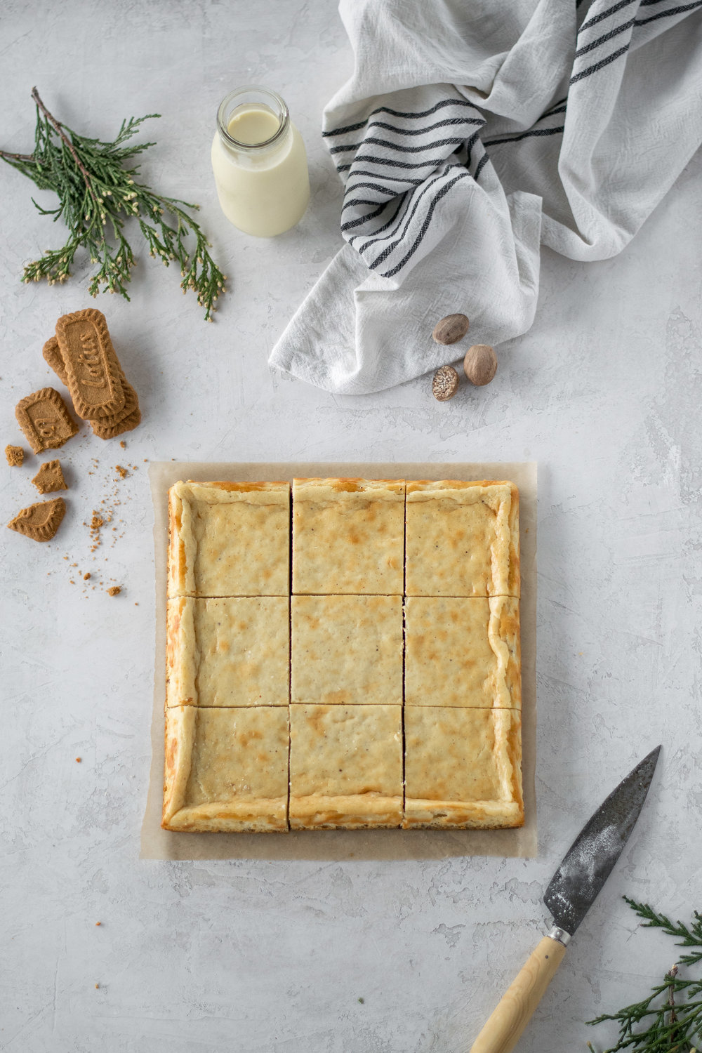Eggnog Cheesecake Bars with Biscoff Cookie Crust | All Purpose Flour Child