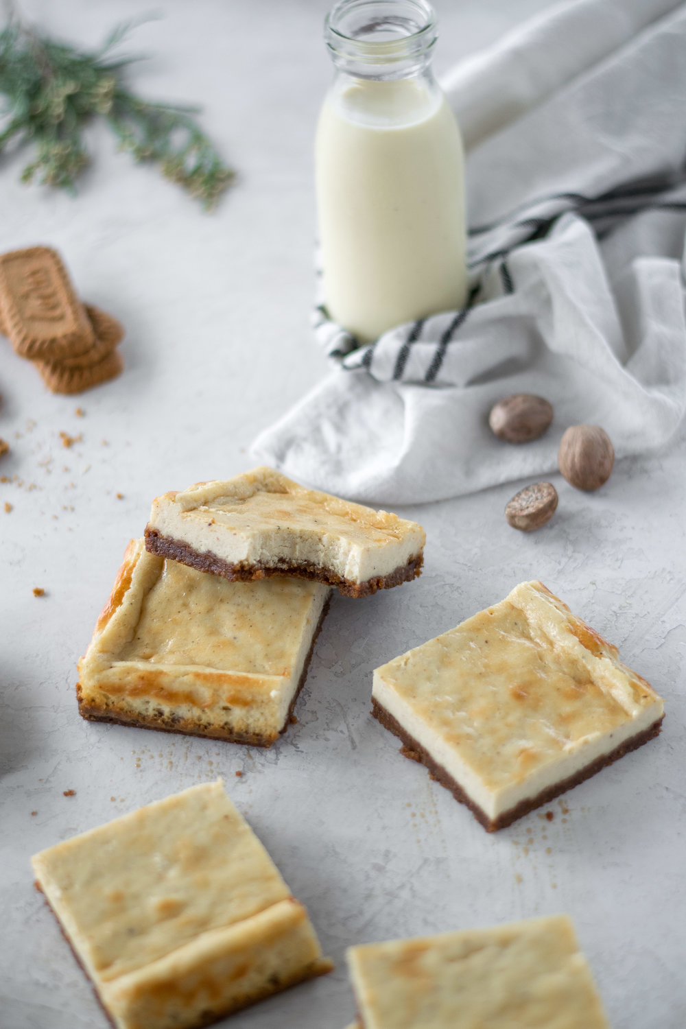 Eggnog Cheesecake Bars with Biscoff Cookie Crust   All Purpose Flour Child