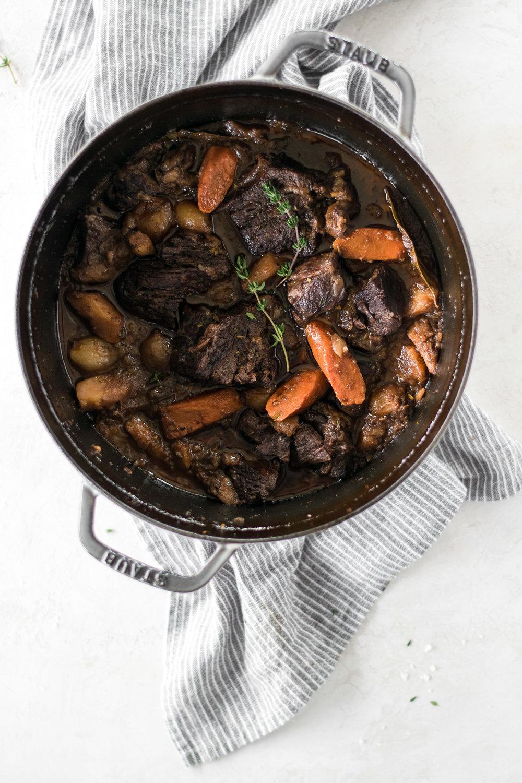 Red Wine-Braised Pot Roast with Creamy Goat Cheese + Cauliflower Mash | All Purpose Flour Child