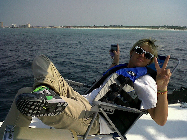 BP Oil Spill (Panama City Beach, FL), Riding on a friends yacht doing absolutely nothing, playing on my Blackberry phone.