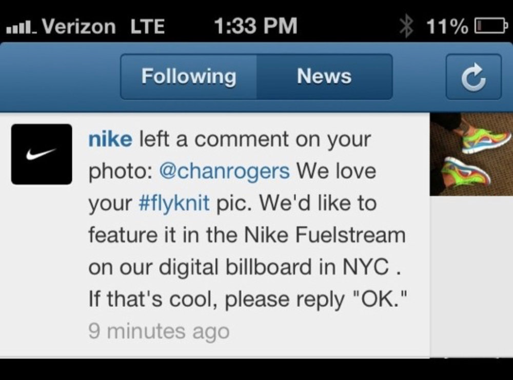 Featured in 2014 for Social Media Marketing in NYC with Nike Fuelstream.