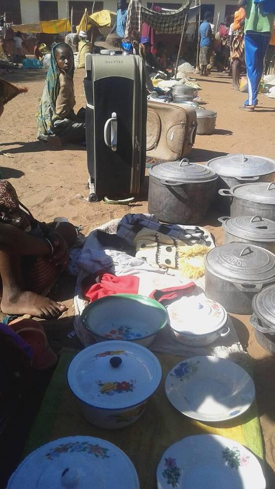 Families sell pots, plates and suitcases in replace of their usual crops that have since died from the severe drought.