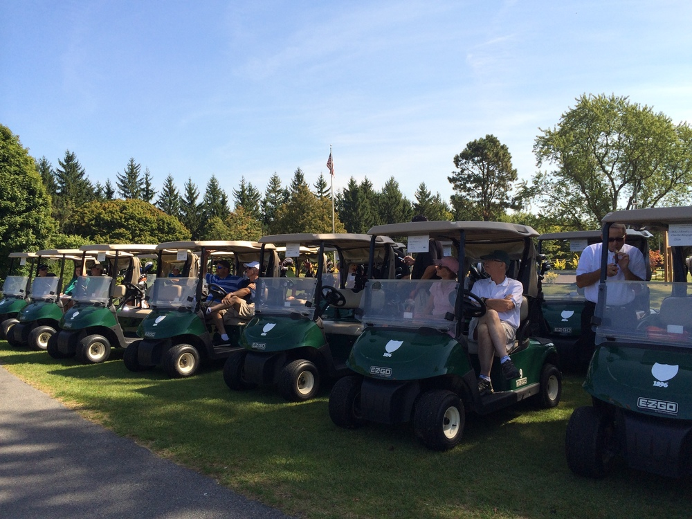 WEDNESDAY, SEPTEMBER 16, 2015: A PICTURE-PERFECT DAY FOR OUR ANNUAL GOLF TOURNAMENT. HERE, THE GOLFERS ARE POISED TO TAKE TO THE GREENS. MANY, MANY THANKS TO OUR BOARD PRESIDENT, GREGG COOPER, FOR ORGANIZING AND EXECUTING THIS EVENT!