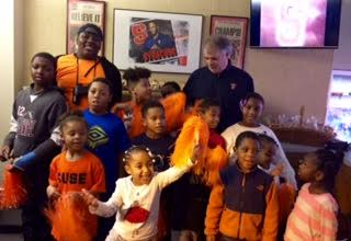DEC 2016- The kids from the DC had a great time at the SU basketball game this weekend! Steve Webster from Flaum Management hosted us in the Flaum luxury box. Pizza,wings, cookies were enjoyed by all! A BIG thank you to David and Ilene Flaum for graciously donating the great seats and food for the kids of the DC. It was day that they will not forget!