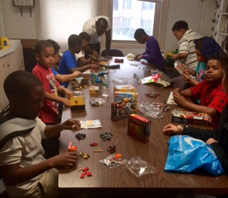 Having a great time creating with the Legos that our kind friend Robin Ledversis sent from CT.