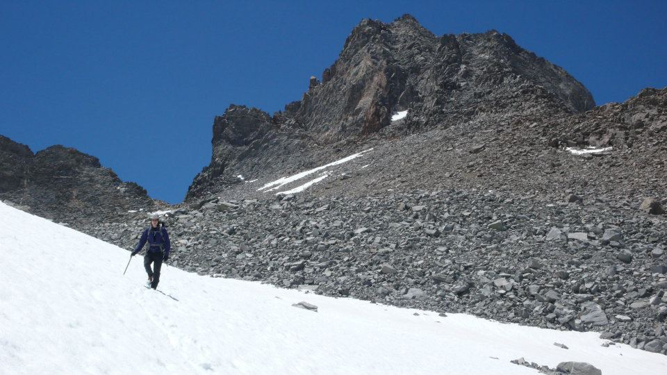 Descending from the summit of Mt. Winchell (13,780'), Palisades, Sierra Nevada. June 2012.
