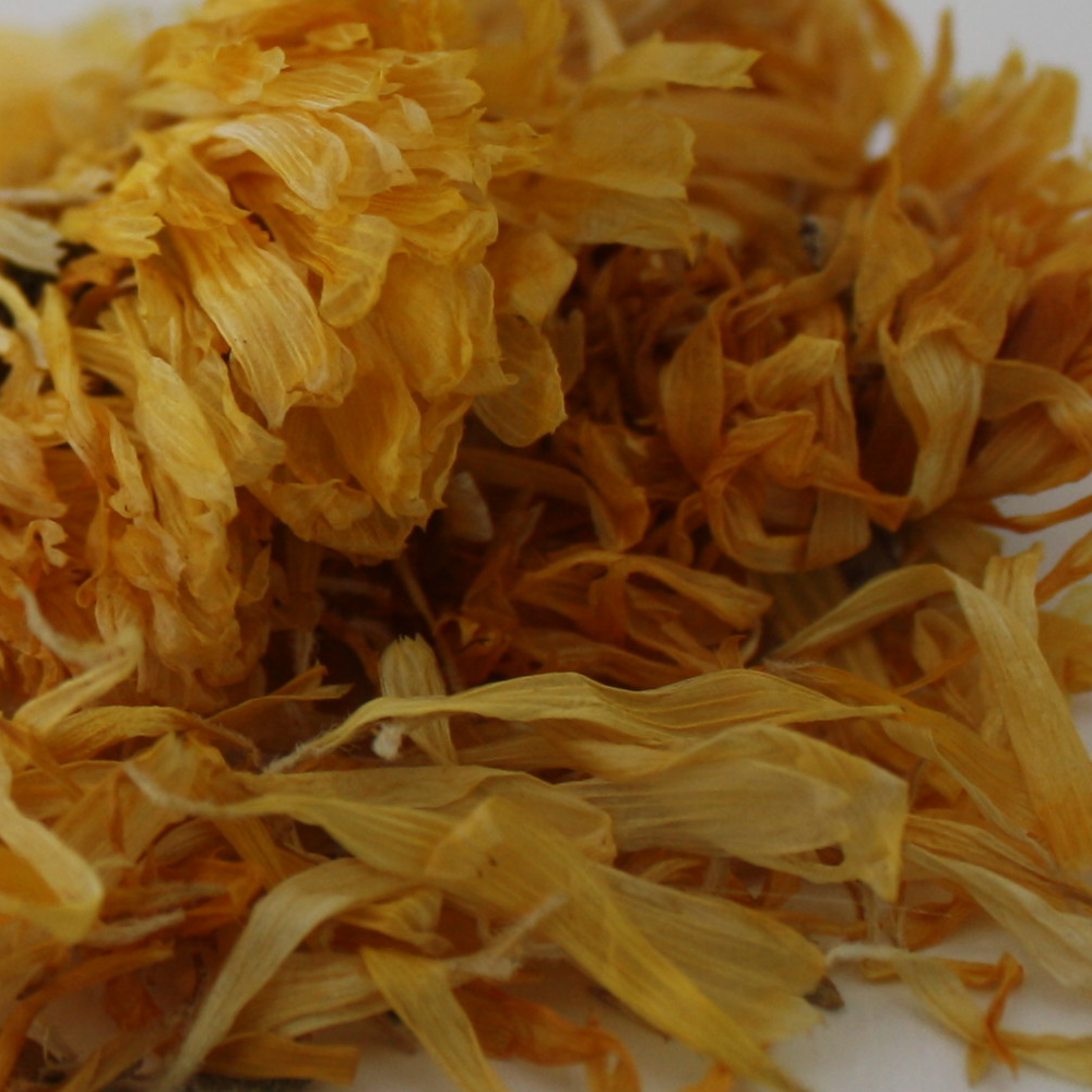 CALENDULA - For dry skin and swelling when applied topically and for a sore throat and menstrual cramps when taken as a tea.