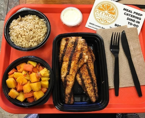 Protein: Cajun Salmon. Sides: Butternut Squash Saute. Sauce: Garlic Toum