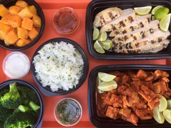 Protein: Citrus Chicken, Adobo Chicken (chopped) Sides: Butternut Squash Saute, Steamed Broccoli, White Rice Pilaf. Sauces: Hot Molcajete Salsa, Chimmicurri, Garlic Toum