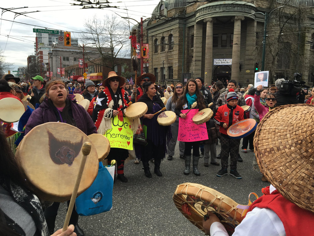 Drummers at the Women's Memorial March in Vancouver's Downtown Eastside. (Photo: Melissa Shaw)