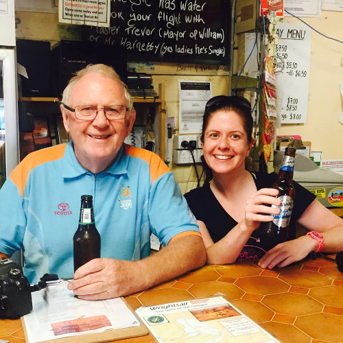 Our ground crew - Mel Davis and Terry Clark (who is 80 years young) enjoying a beer at William Creek. They'd just driven all the way from Wilpena Pound up the Oodnadatta Track.