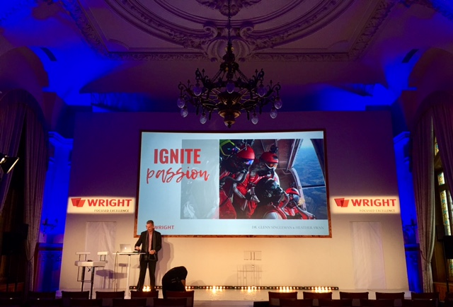 Glenn on Stage in Montreux, Switzerland for Wright Medical - Glenn and Heather delivered a joint keynote and 3 peak performance workshops over two days.
