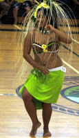 Hawaiian woman dancer at the Tahaitian Dance and Drumming Competition