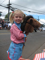 Stick horse pa'u rider in the Makawao, Maui, Hawaii, Fourth of July Parade