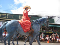 Pa'u riders in the Makawao, Maui, Hawaii, Fourth of July Parade