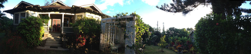 Panorama of the grounds of the hale Hookipa Inn Maui Bed and Breakfast, Makawao, Maui, Hawaii