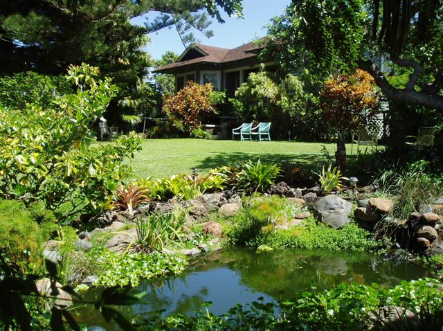The pond at the Hale Ho'okipa Inn Maui bed and breakfast