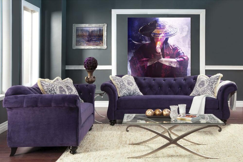 purple sofas 1 with jena dellagrottaglia art.jpg