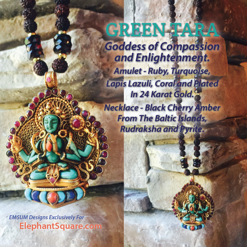 GREEN TARA AMULET NECKLACE, ONE-OF-A-KIND, EXCLUSIVE.