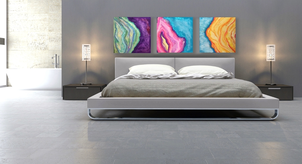 Geode Agate Intuitive Paintings. Titles:  DREAM. LOVE. SUNRISE .