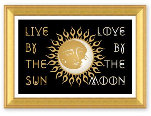 Live Love Sun Moon Gold Frame Elephant Squaremodern English
