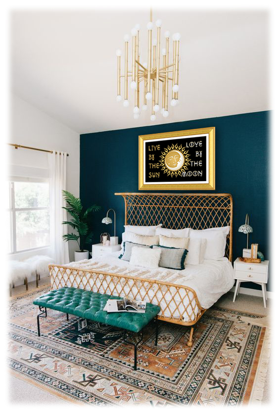 modern-boho-master-bedroom-with-dark-teal-+sun+moon+gold+frame+copy.jpg