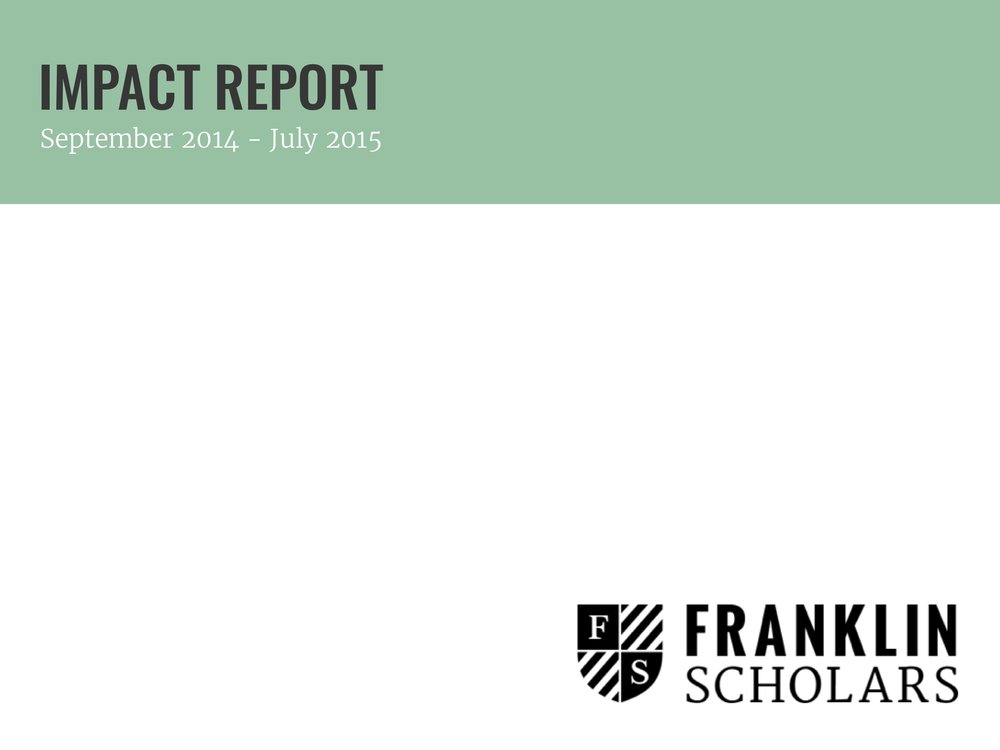 Franklin Scholars Impact Report 2014-15 cover.jpg