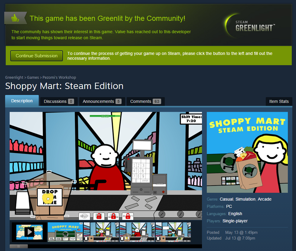 Screenshot from the day Shoppy Mart: Steam Edition got Greenlit.