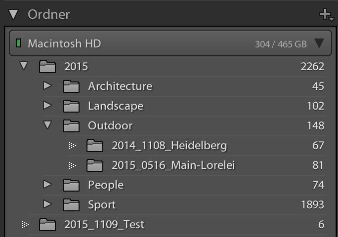 """Lightroom Ordnerstruktur. Der Testordner wird direkt im """"Hauptordner, 2015"""" angezeigt."""