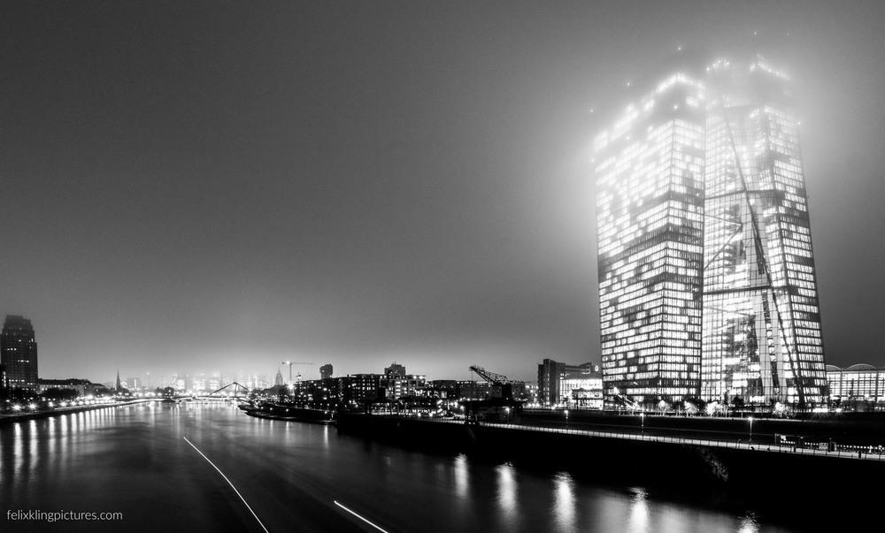 foggy Frankfurt - European Central Bank