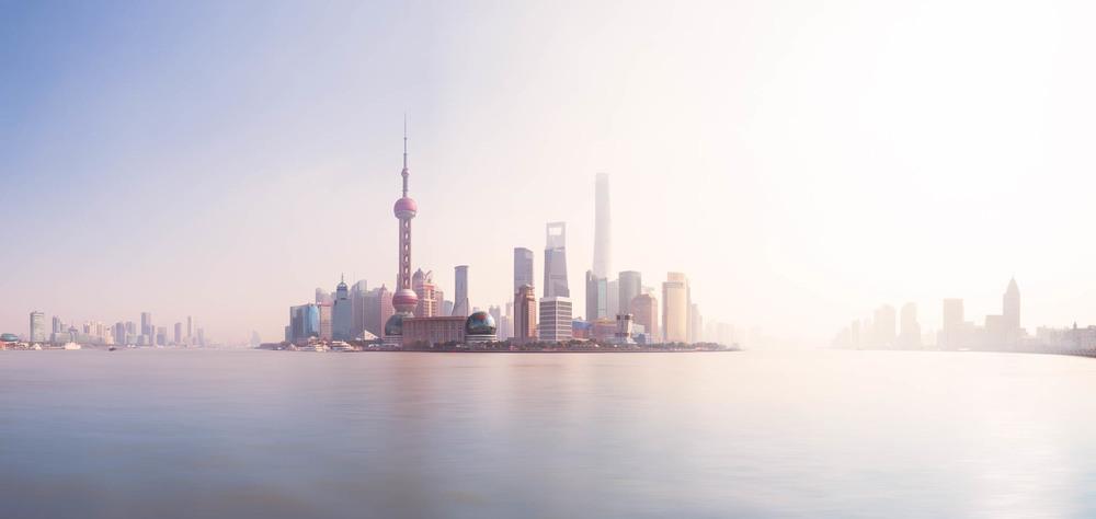 Sunset in Shanghai. Skyline im Sonnenuntergang