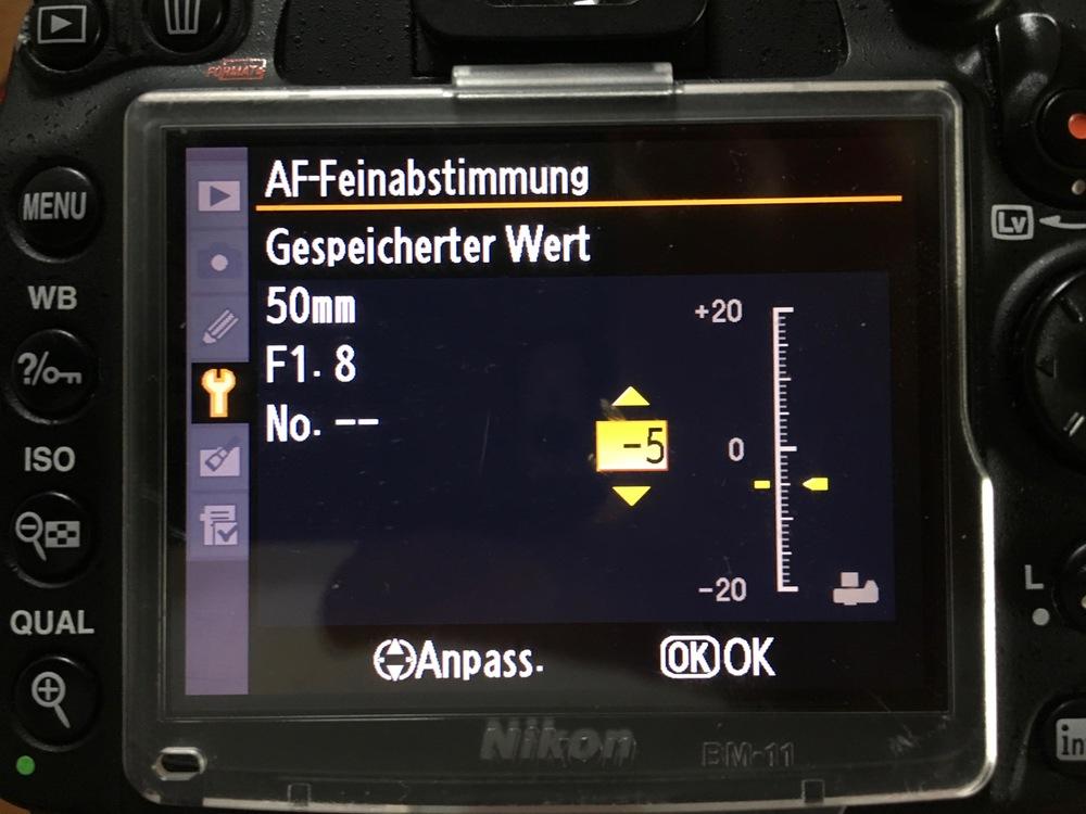 AF Feinabstimmung in der Kamera (Nikon)