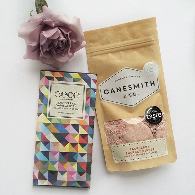 MMmmm, raspberry white chocolate by @cocochocolatier and a natural raspberry sherbet dipper from @thecanesmith. Such lovely packaging 💜