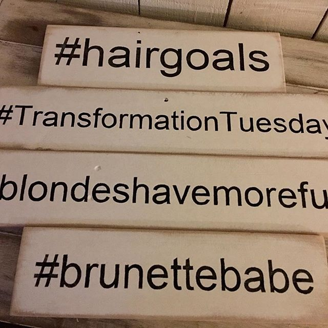 Four #hashtagsigns on their way to a customer #hairgoals #TransformationTuesday #blondeshavemorefun #brunettebabe